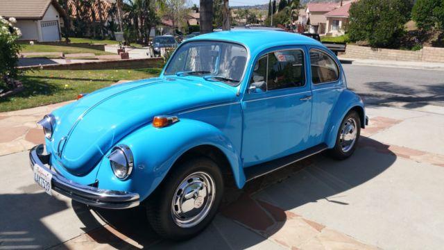 seller of classic cars 1971 volkswagen beetle classic safety blue black and light blue. Black Bedroom Furniture Sets. Home Design Ideas