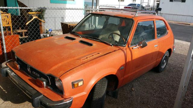 seller of classic cars 1975 honda civic orange black. Black Bedroom Furniture Sets. Home Design Ideas