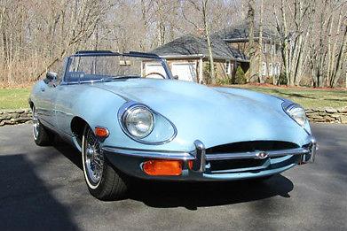 1969 Jaguar E Type Light Blue Dark Leather