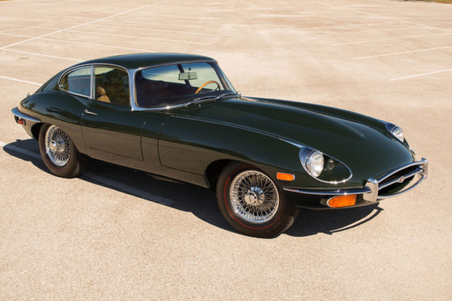 seller of classic cars 1969 jaguar e type green tan. Black Bedroom Furniture Sets. Home Design Ideas