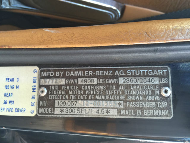 Seller of classic cars 1972 mercedes benz 300 series db for Vin decoder mercedes benz