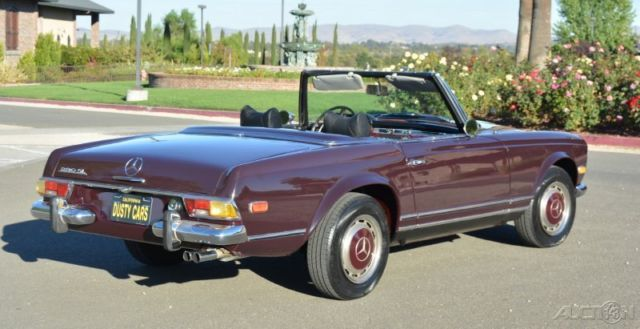 seller of classic cars 1970 mercedes benz sl class burgundy black. Black Bedroom Furniture Sets. Home Design Ideas