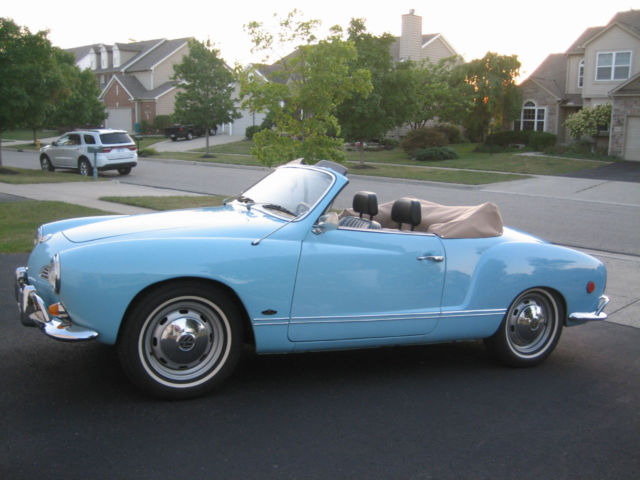1969 Volkswagen Karmann Ghia (Light Blue w/ Tan Top/Black with Blue Trim)