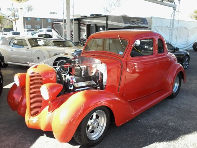 Seller of classic cars 1936 dodge 5 window coupe red tan for 1936 dodge 5 window coupe