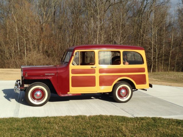 "1947 Willys Jeep Station Wagon (Burgundy w/ ""wood""/Burgundy)"