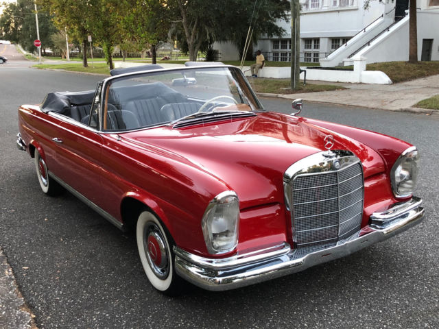 "1963 Mercedes-Benz 200-Series (DB 534 Fire Engine Red/Black leather interior w. RARE ""bucket"" seats)"